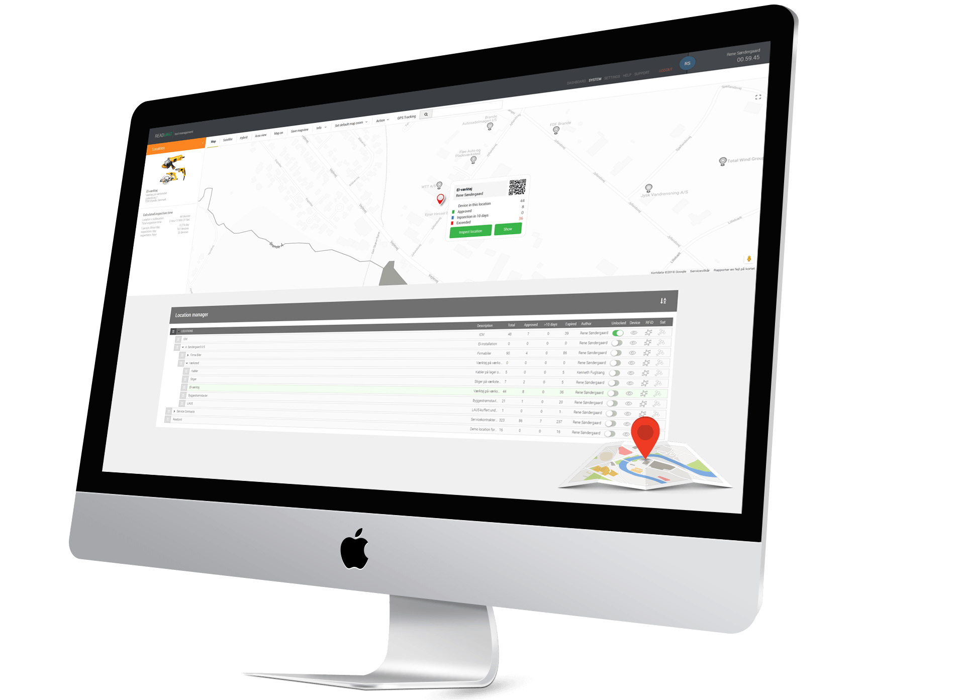 Readunit's construction inspection software keeps track of all your equipment in different locations