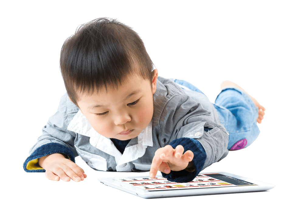Boy looking at Readunit inspection software on a tablet